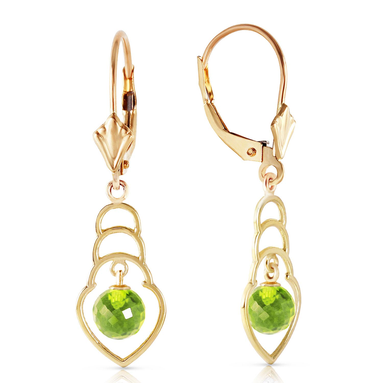 Peridot Wireframe Drop Earrings 1.25ctw in 9ct Gold