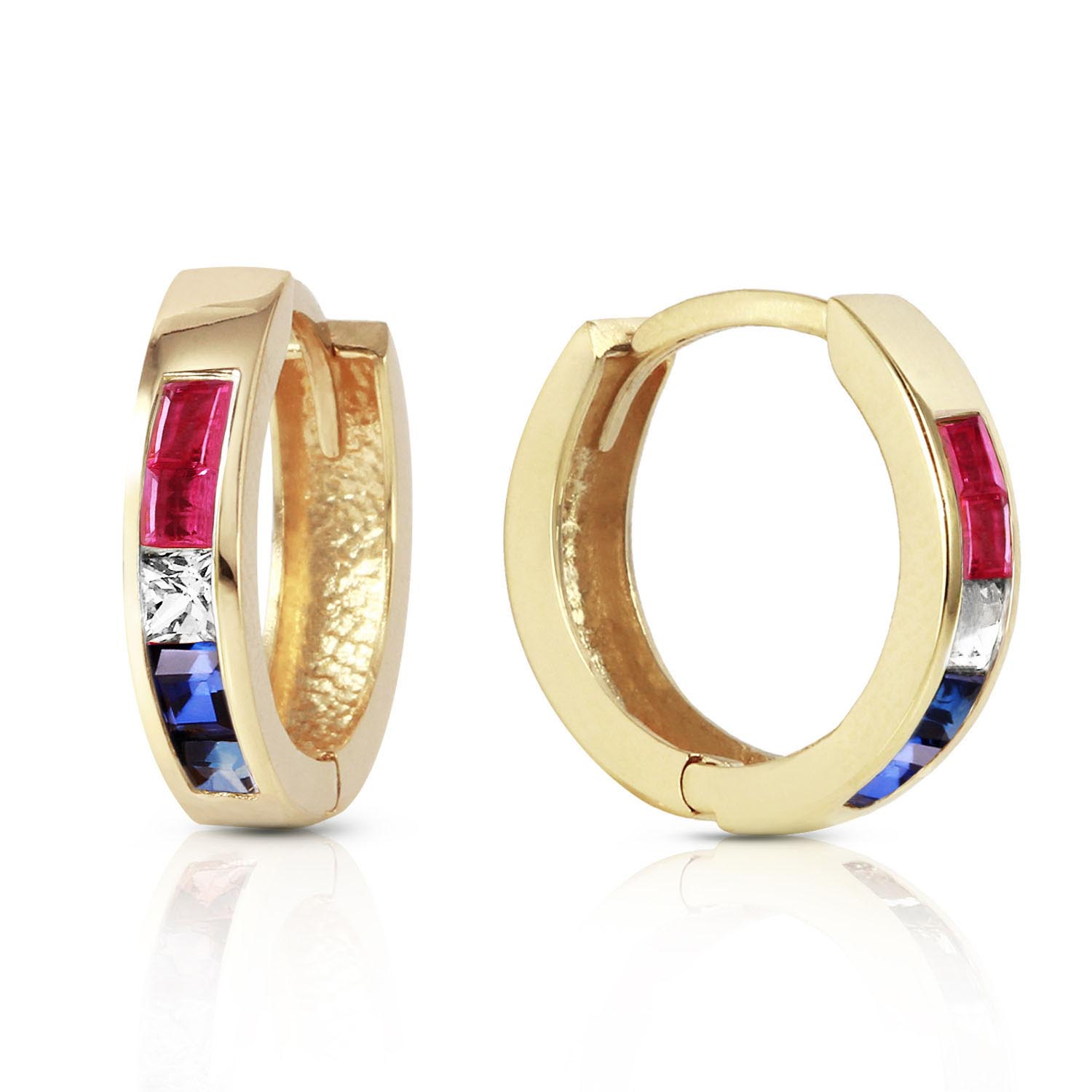 Gemstone Huggie Earrings 1.28ctw in 9ct Gold