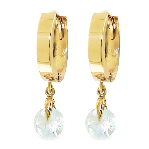 Aquamarine Huggie Drop Earrings 1.3ctw in 9ct Gold
