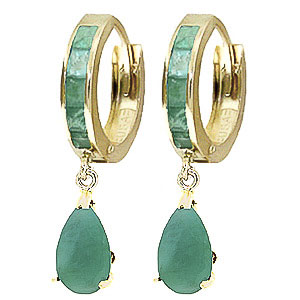 Emerald Huggie Drop Earrings 1.3ctw in 9ct Gold