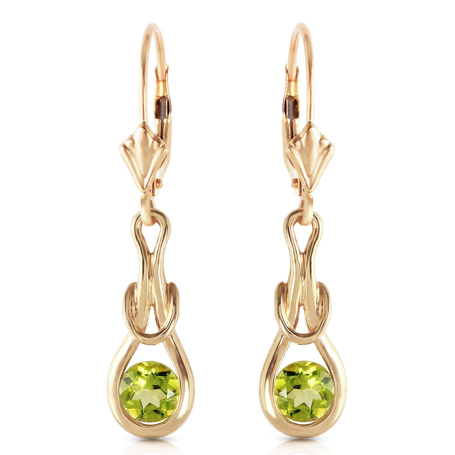 Peridot San Francisco Drop Earrings 1.3ctw in 9ct Gold