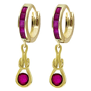 Ruby Loop Knot Huggie Earrings 1.3ctw in 9ct Gold