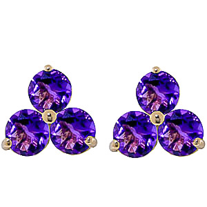 Amethyst Trinity Stud Earrings 1.5ctw in 9ct Gold