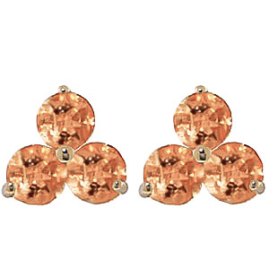 Citrine Trinity Stud Earrings 1.5ctw in 9ct Gold