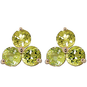 Peridot Trinity Stud Earrings 1.5ctw in 9ct Gold
