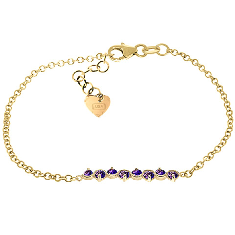 Round Brilliant Cut Amethyst Adjustable Bracelet 1.55ctw in 9ct Gold