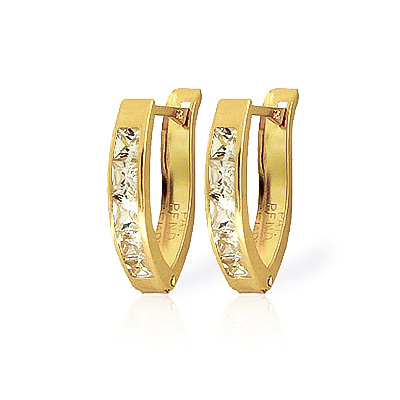Cubic Zirconia Huggie Earrings 1.58ctw in 9ct Gold
