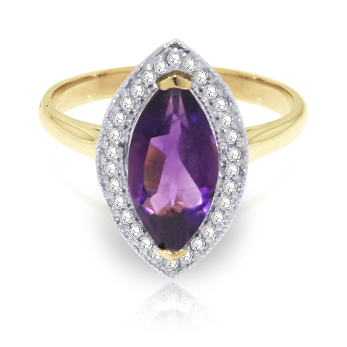 Amethyst and Diamond Halo Ring 1.65ct in 9ct Gold