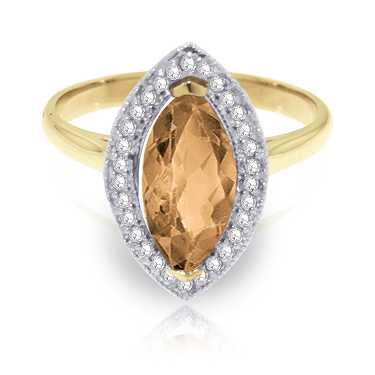 Citrine and Diamond Halo Ring 1.65ct in 9ct Gold