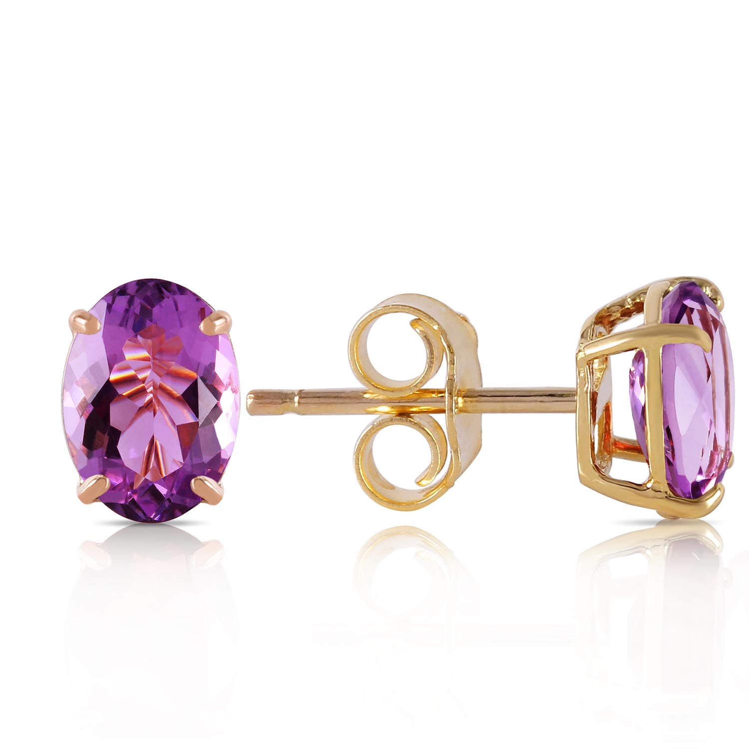 Amethyst Stud Earrings 1.8ctw in 9ct Gold