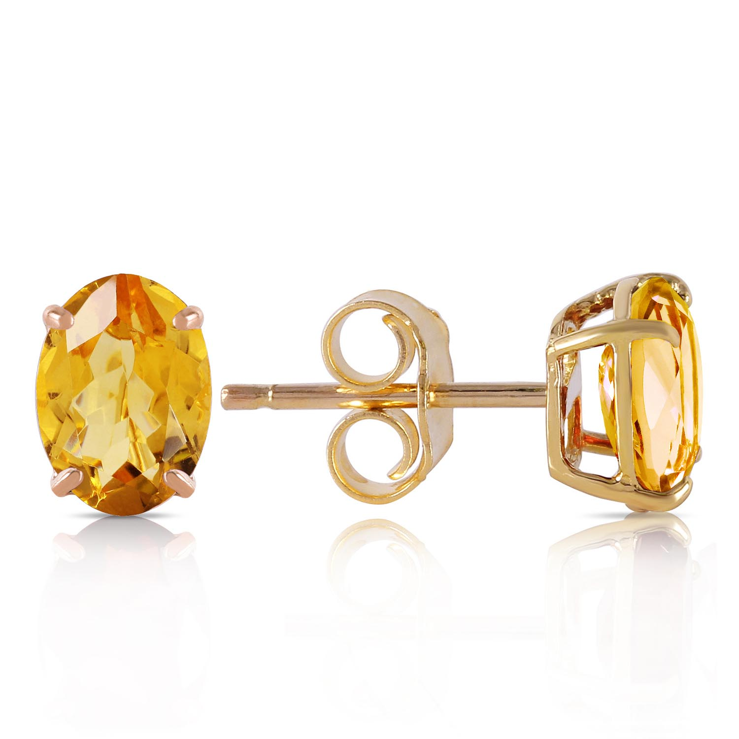 Citrine Stud Earrings 1.8ctw in 9ct Gold