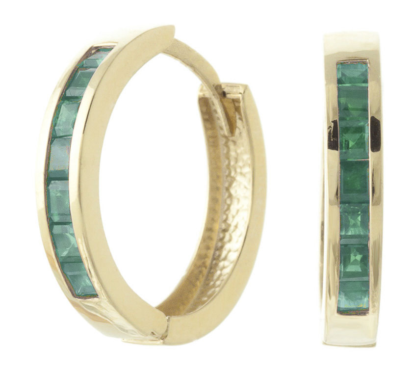 Emerald Huggie Earrings 1.85ct in 9ct Gold