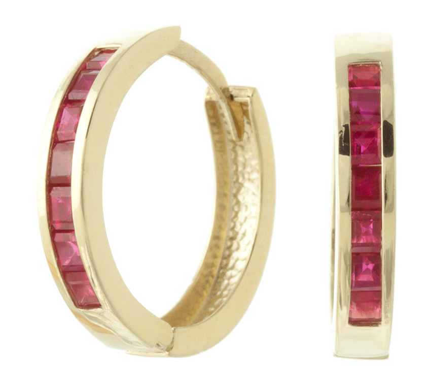 Ruby Huggie Earrings 1.85ct in 9ct Gold