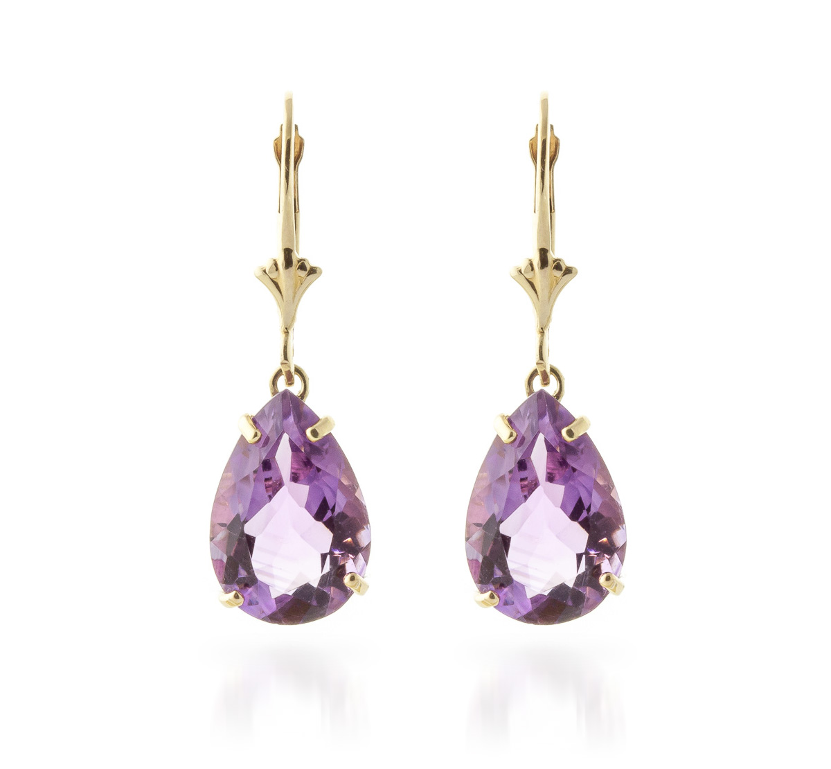 Amethyst Drop Earrings 10.0ctw in 9ct Gold