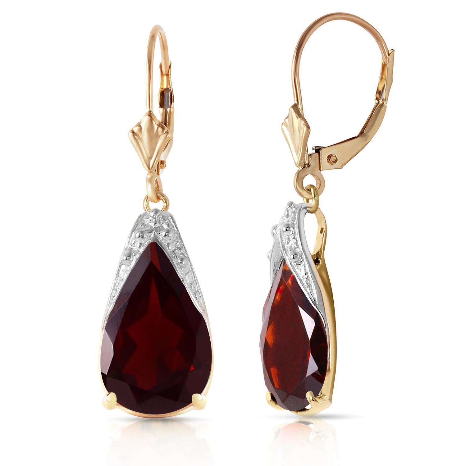 Garnet Snowcap Drop Earrings 10.0ctw in 9ct Gold