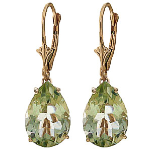 Green Amethyst Drop Earrings 10.0ctw in 9ct Gold