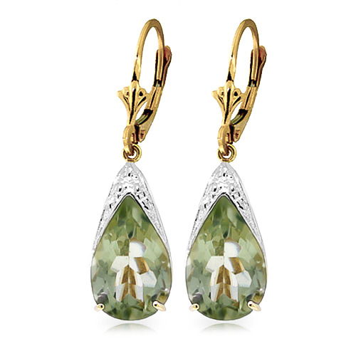 Green Amethyst Snowcap Drop Earrings 10.0ctw in 9ct Gold