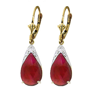 Ruby Snowcap Drop Earrings 10.0ctw in 9ct Gold