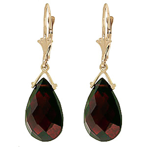 Garnet Droplet Briolette Earrings 10.2ctw in 9ct Gold