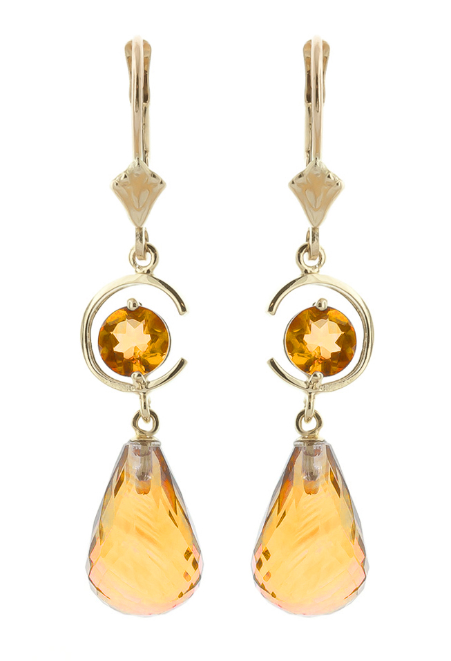 Citrine Briolette Drop Earrings 11.0ctw in 9ct Gold
