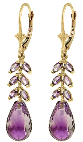 Amethyst Briolette Drop Earrings 11.2ctw in 9ct Gold