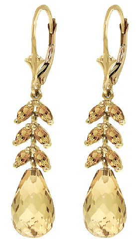 Citrine Briolette Drop Earrings 11.2ctw in 9ct Gold