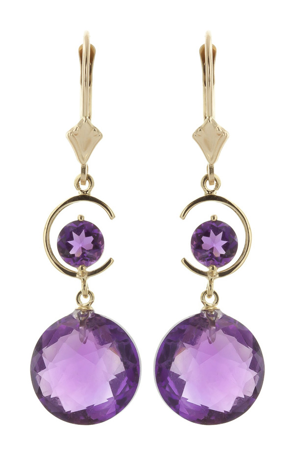 Amethyst Drop Earrings 11.6ctw in 9ct Gold