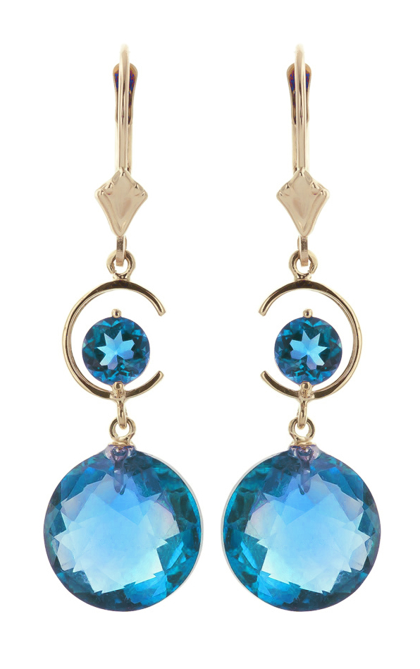 Blue Topaz Drop Earrings 11.6ctw in 9ct Gold