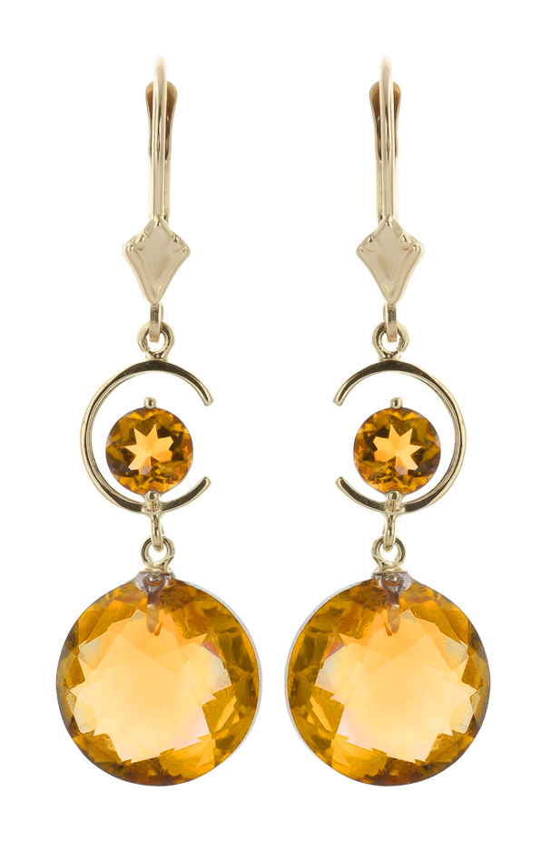 Citrine Drop Earrings 11.6ctw in 9ct Gold