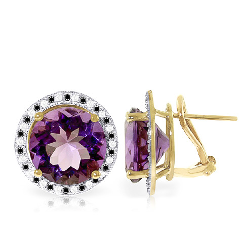 Amethyst and Diamond Stud French Clip Earrings 12.0ctw in 9ct Gold