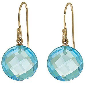 Blue Topaz Chequer Cut Drop Earrings 12.0ctw in 9ct Gold