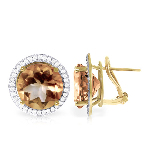 Citrine and Diamond French Clip Halo Earrings 12.0ct in 9ct Gold