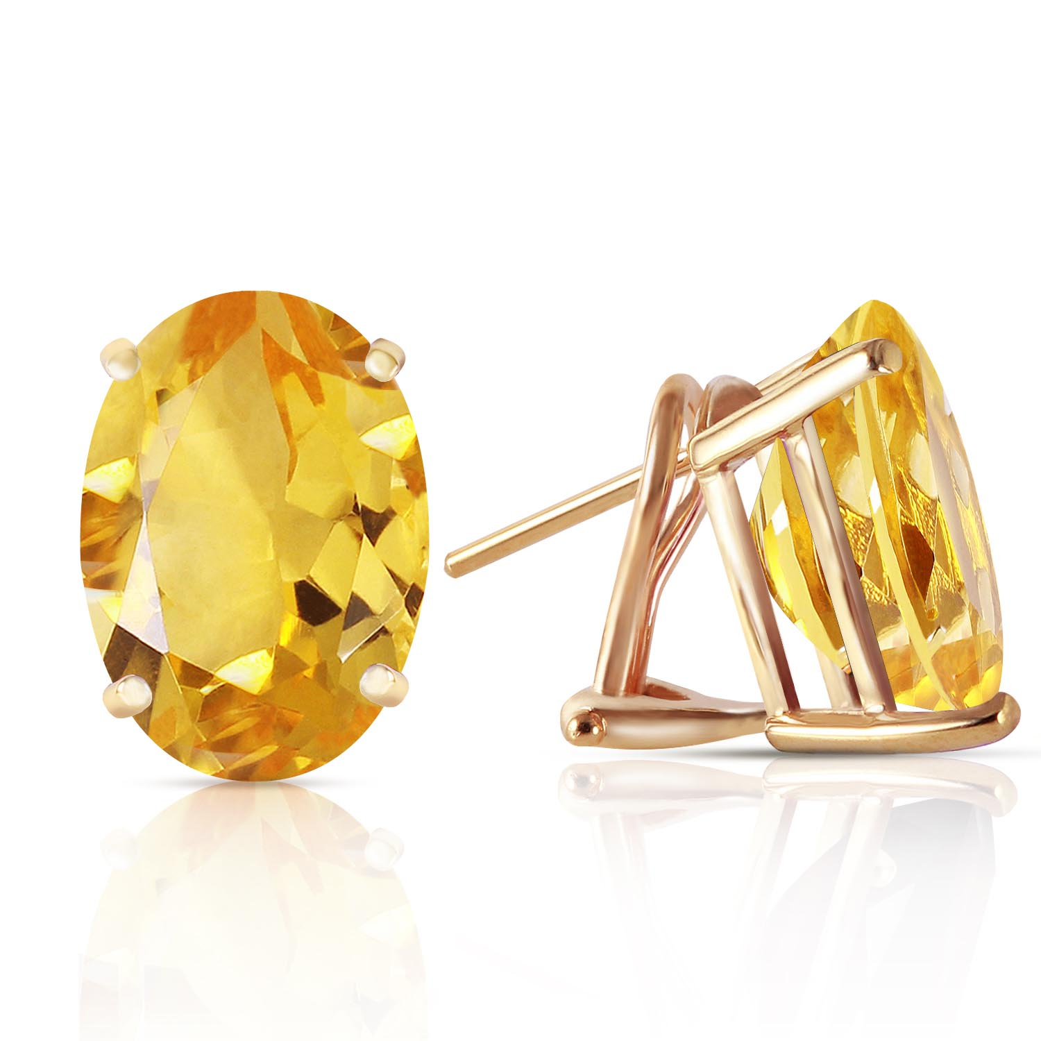 Citrine Stud Earrings 12.0ctw in 9ct Gold