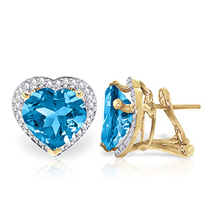 Blue Topaz and Diamond French Clip Halo Earrings 12.6ctw in 9ct Gold