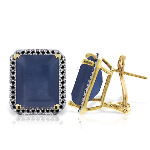 Sapphire and Diamond Stud French Clip Halo Earrings 12.8ctw in 9ct Gold
