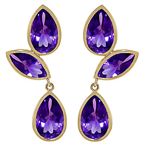 Amethyst Petal Drop Earrings 13.0ctw in 9ct Gold