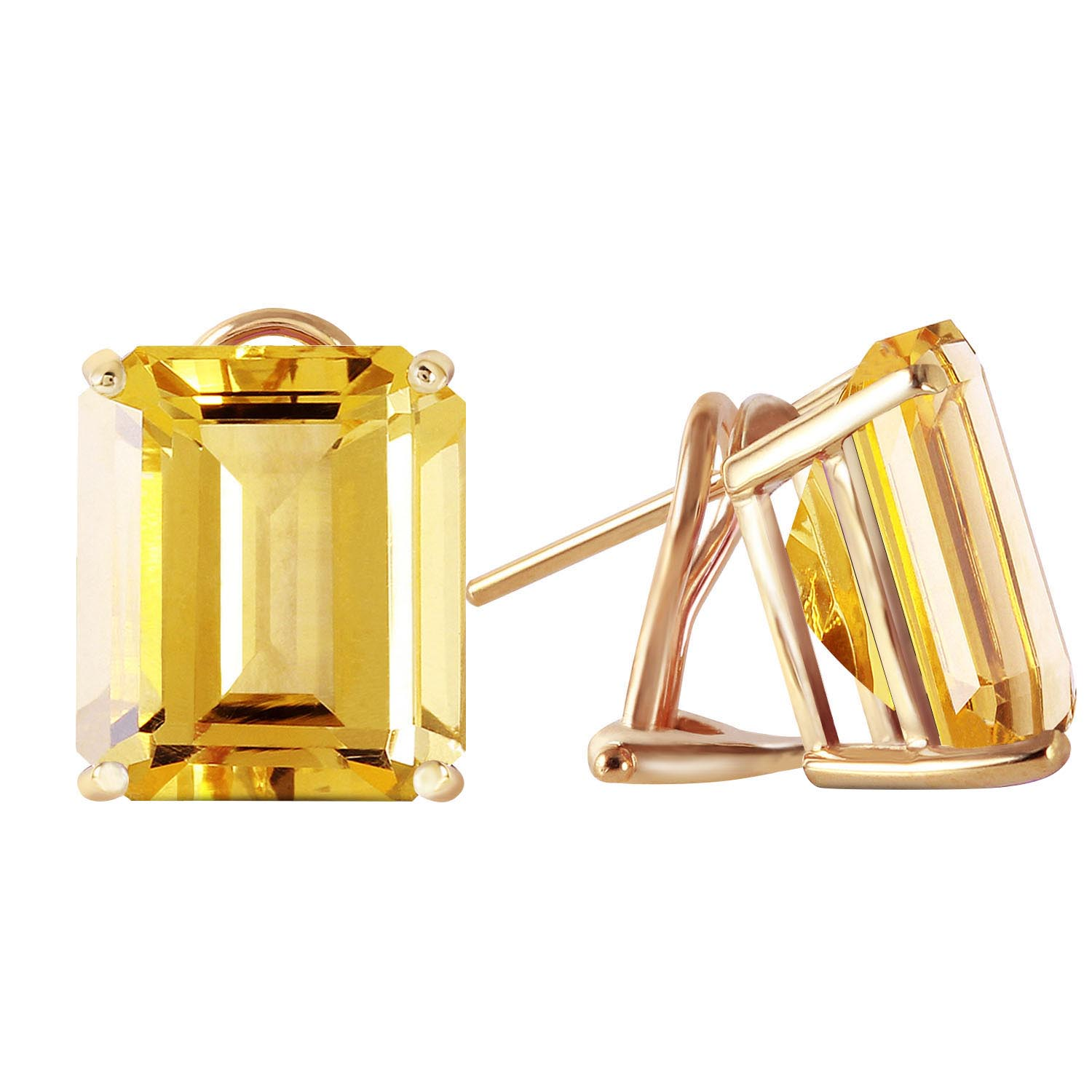 Citrine Stud Earrings 13.0ctw in 9ct Gold