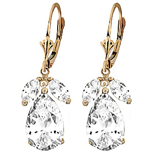 White Topaz Drop Earrings 13.0ctw in 9ct Gold