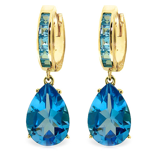 Blue Topaz Droplet Huggie Earrings 13.2ctw in 9ct Gold