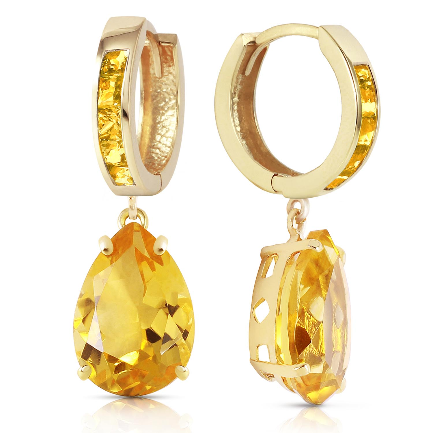 Citrine Droplet Huggie Earrings 13.2ctw in 9ct Gold