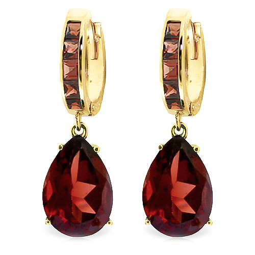 Garnet Droplet Huggie Earrings 13.2ctw in 9ct Gold