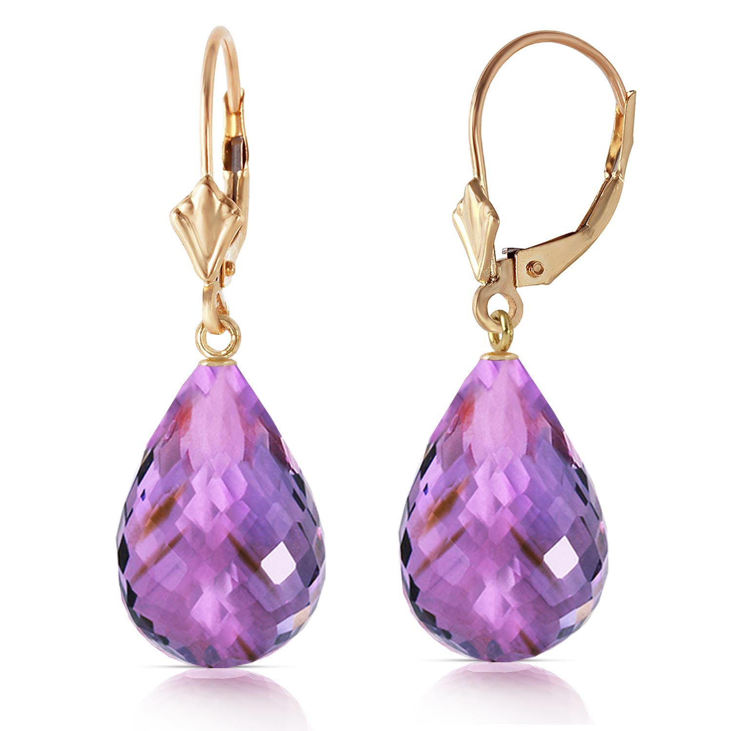 Amethyst Briolette Drop Earrings 14.0ctw in 9ct Gold