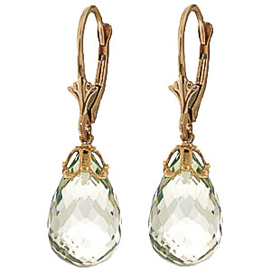 Green Amethyst Crown Briolette Drop Earrings 14.0ctw in 9ct Gold