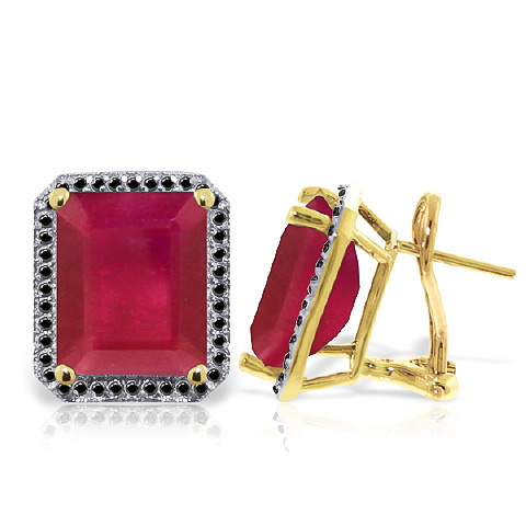 Ruby and Diamond Stud French Clip Halo Earrings 14.5ctw in 9ct Gold
