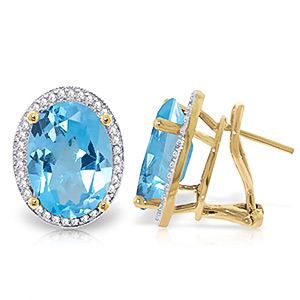 Blue Topaz and Diamond French Clip Halo Earrings 14.8ctw in 9ct Gold
