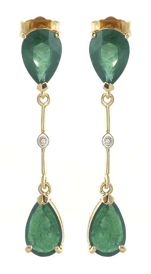 Emerald and Diamond Drop Earrings 15.0ctw in 9ct Gold