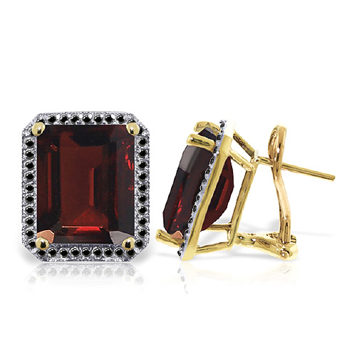 Garnet and Diamond Stud French Clip Halo Earrings 15.0ctw in 9ct Gold