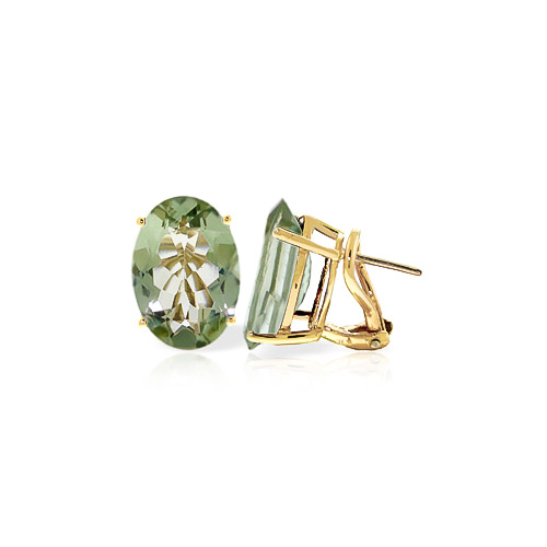 Green Amethyst Stud Earrings 15.1ctw in 9ct Gold