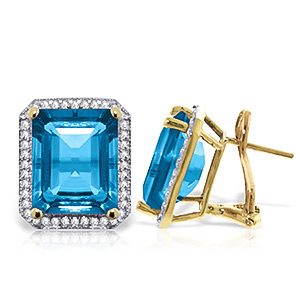 Blue Topaz and Diamond French Clip Halo Earrings 15.2ctw in 9ct Gold