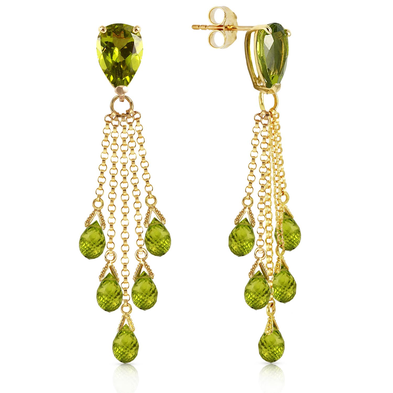 Peridot Comet Tail Drop Earrings 15.5ctw in 9ct Gold